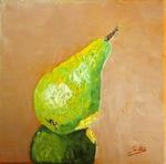 Ölbild, Birne, gespachtelt, Silvia Bartsch, Kunst