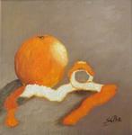 Ölbild, Orange, Obst, Silvia Bartsch